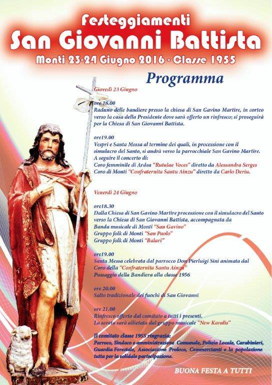 Festeggiamenti San Giovanni Battista 23 giugno 2016